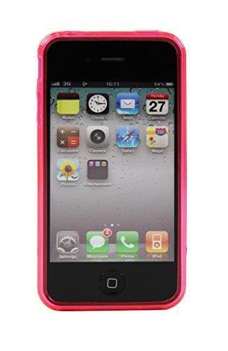 Luxburg® S-Line Design Schutzhülle für Apple iPhone 4S / 4 in Farbe Tiefschwarz / Schwarz, Hülle Case aus TPU Silikon Crystal Pink