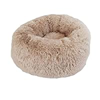 Aomili Plush Pet Bed, Soft Comfy Caves for Cats Small Dogs, Warm Sleeping Calming Houses (M, Coffee)