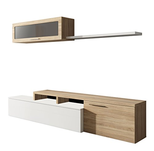 Habitdesign 016667F - Mueble de salón Comedor Moderno, Medidas: 200x41/34x43 cm de Alto (Blanco Brillo y Roble Canadian)