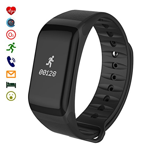 Fitness Tracker, LaTEC intelligente Bracciale di sport Bracciale Pedometro con Heart Rate Monitor di pressione sanguigna Activity Tracker caloria di sonno Monitor Cronometro, IP67 impermeabile Esercizio Tracker Smartwatch Wristband Chiama ID messaggio push per Android e iPhone Smartphones