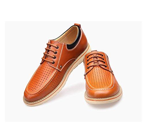 HYLM Summer I nuovi pattini di cuoio dei sandali dei pattini di cuoio genuino dei pattini respirabili del foro delle cavità Yellow
