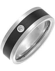 Theia Ring Flach Matt Court 7 mm Titan und Emaille Inlay 0.05ct