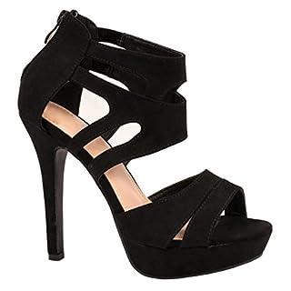 Elara Damen Pumps | Moderne Cut Out Stilettos | Wildlederoptik High Heels Farbe Schwarz, Größe 35