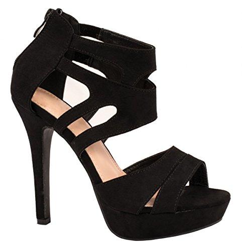 Elara Damen Pumps   Moderne Cut Out Stilettos   Wildlederoptik High Heels Farbe Schwarz, Größe 38