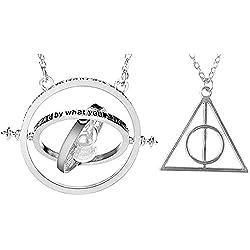 """¿Recuerdas el giratiempo de Harry Potter? """"Inception Pro Infinite"""" Conjunto de Dos Collares Reloj de Arena Giratorio"""