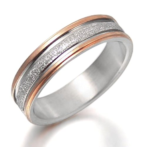 Gemini Damen-Ring Titan , Herren-Ring Titan , Freundschaftsringe , Hochzeitsringe , Eheringe, Farbe: Silber, Rotgold Breite 6mm Größe 74 (23.6)