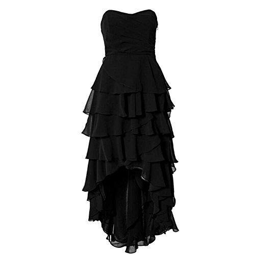 Find Dress Robe de Soirée Asymétrique Longue Robe Cocktail/Cérémonie Multicouche Ourlet sans Manches en Mousseline Col en Cœur Noir