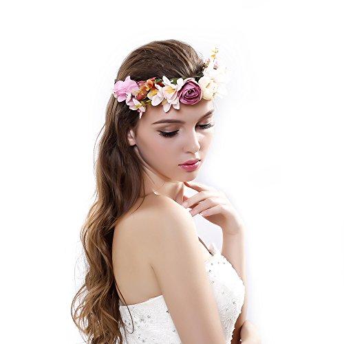 Gmin Moda Diademas de Flores Accesorio de Cabeza de Vacaciones Playa,Flores de Pelo Cabeza para Mujeres de la Boda,tocado de novia (Rosa 2)