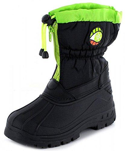 Kinder Winter Schnee Stiefel Boot schwarz grün wasserdicht und warm gefüttert Reißverschluss Schwarz