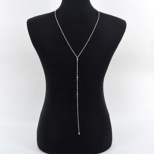Frauen Boho Gold Silber Bikini Bib Kristall Hochzeit Sommer Kleid Hintergrund Zurück Körper Kette Halskette (Style 1 Silber) (Körper Bib)