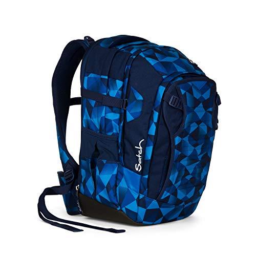 Satch Match Blue Crush, ergonomischer Schulrucksack, erweiterbar auf 35 Liter, extra Fronttasche, Blau