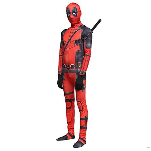 Spider Kostüm Mann Mädchen - Ghuajie5hao Jungen Deadpool Overall Cosplay 3D Gedruckt Kostüme Trikot Halloween Kleidung Budysuit Mädchen Anime Filmrequisiten Kleidung Elastische Kostüme Enge Outfit,Rot,S