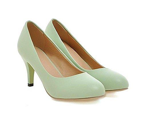 DamenschuheHohe Absätze mit runder Zehe flachen Mund Gericht Schuhe einfache Arbeit lässig Frühling und Sommer Schuhe , green , (Schuhe Glitter Flache Erwachsene Green)