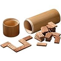 Philos 3624 Green Games - Domino doppio 6 in legno di bambù, confezione a tubo