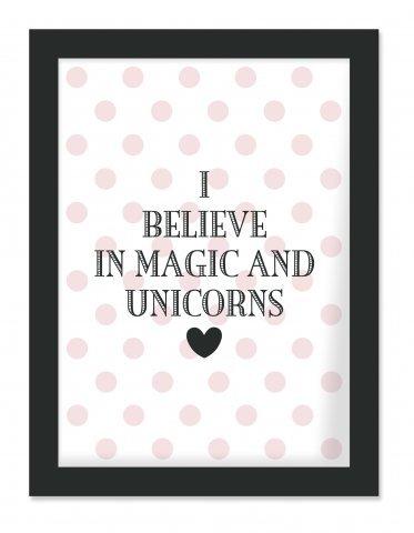 Preisvergleich Produktbild Miss Etoile Bild mit schwarzem Rahmen 'I believe in Magic and Unicoms'
