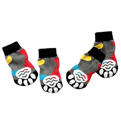 Hunpta 4Pcs Haustier Hund Katze Baumwolle Anti-Rutsch stricken weben warme Socke Skid unten (XL, Multicolor) (Socke Unten)