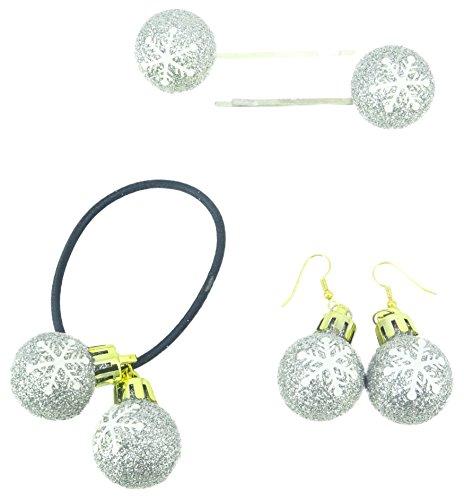 Toyland 3 x Packungen Silber Glitzer Schneeflocke Design Ohrringe, Haarspange und Bobble (Sie erhalten 1 von jedem) - Weihnachtszubehör - Weihnachtsfeiern