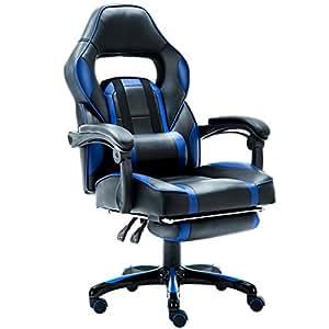 Jr knight ergonomico gaming sedia con poggiapiedi for Sedia ufficio con poggiapiedi