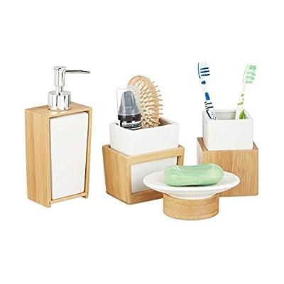 Relaxdays | 4-teiliges Badzubehör aus Keramik und Bambus, Seifenspender und -schale sowie Zahnputzbecher und Utensilienhalter