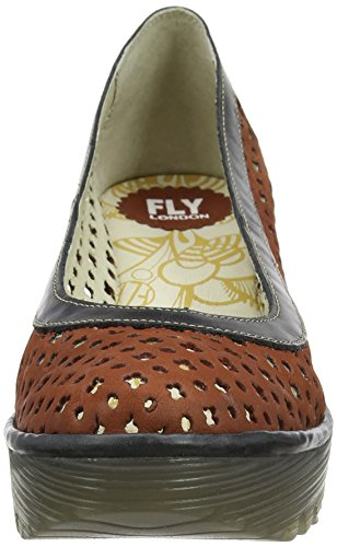 FLY London Yika733, Sandales Compensées   Femme Rouge (Brick/Black 002)