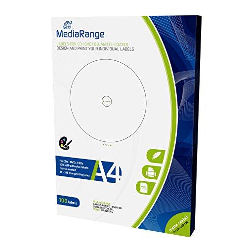 MediaRange Etiketten für CD|DVD|BD, 15-118mm, matt-beschichtet, 100er Pack -