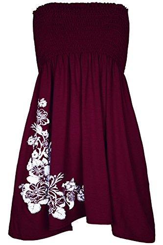 Pour femme Motif Roses à Paillettes strass Sheering-Clothings Robe bustier à bascule haut Rouge - Bordeaux