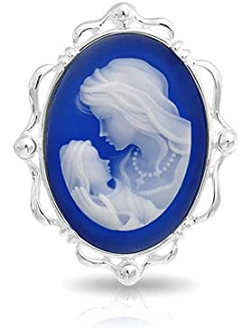 Bling Jewelry Blau Harz Mutter Tochter Cameo Pin Brosche Silber 925