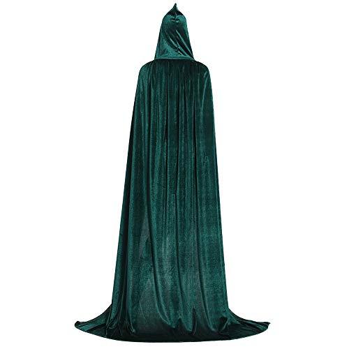 Mrisbtre Umhang Grün Unisex mit Kapuze Lange Samtumhang Cape Vampir Kostüm Halloween Karneval Fasching - Grünen Umhang Kostüm