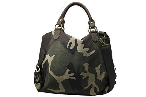 FERETI Borsa pelle Verde marrone militare camuffamento esercito army donna moda 2 in 1