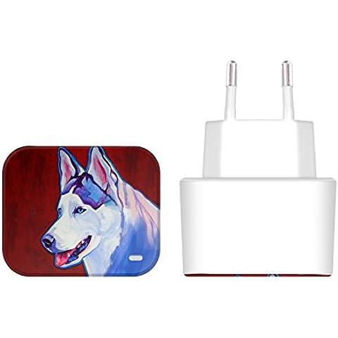 Ufficiale DawgArt Husky Siberiano Cani Bianco EU Caricatore & Micro-USB Cavo per Samsung Galaxy A8
