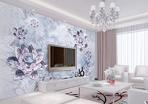 Fototapete 3D Effekt Eis Skulptur Kristall Transparenten Lotus Schmuck Tapeten Vliestapete 3D Tapete Moderne Wandbilder Wanddeko