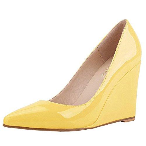 MERUMOTE Damen Y-218 Keilabsatz-Pumps,Spitze Zehe Klassische Leichte Abnutzung Lack Schuhe Wedges Pumps Gelb