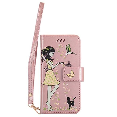 EKINHUI Case Cover Luminous Embossing Fairy Girl & Cat Pattern Ledertasche, Folio Flip Stand Brieftasche Beutel Case Cover mit Lanyard & Card Slots & Foto Frame für iPhone 7 ( Color : Gold ) Rose-gold