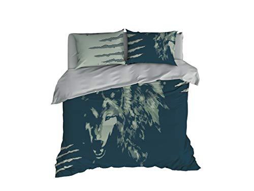 Cool Bedding Grauer Wolf wilde Natur Bettdeckenbezug, graeulich blau, Queen Set 3-teilig, Bettdeckenbezug 240x220cm 1 St. Kopfkissenbezuege 80x80cm 2 St.