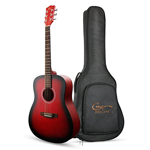 "Hricane Anfänger-Akustikgitarre 41"" Full Size Gitarren, GU-3 Dreadnought Fichte Stahlsaite Akustische Gitarre mit Gitarren-Paket (Rot Dreadnought)"