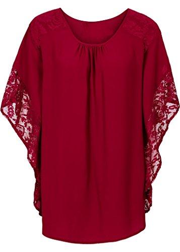 Bigood Femme T-shirt Loose Dentelle Elastique Blouse Rond Col Chemise Uni Rouge