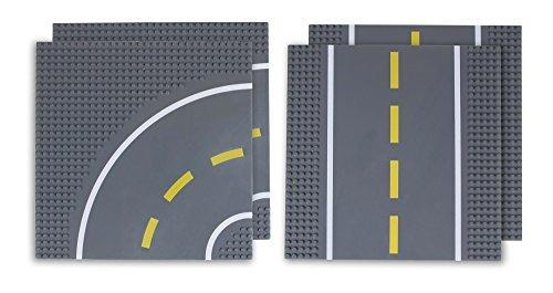 Strictly Briks - Bauplatten Straße - Geraden & Kurven - 100 % kompatibel mit Allen führenden Marken - 10 x 10 (25,4 x 25,4 cm) - 4 Stück (2 gerade und 2 mit Kurven) - Lego Großen Grundplatten