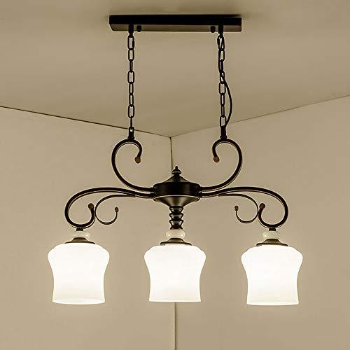 Triple-glühlampen-leuchte (Liunce Vintage rustikale industrielle 3-Lichter Küche Insel Kronleuchter E27 Eisen Metall Triple 3 Köpfe Anhänger hängende Decke Leuchte mit ovalen Kegel weißen Glasschirm)