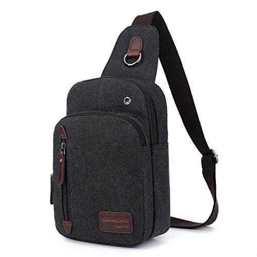 BULAGE Brusttasche Mode Freizeit Männer Leinwand Brusttasche Messenger Kompakt Leicht Langlebig Vielseitig Langlebig Black