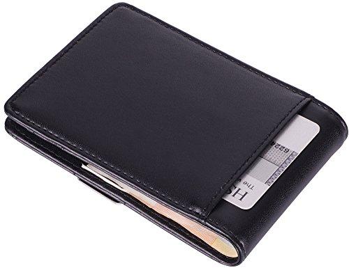 Geldbörse mit GELDKLAMMER und aus Echt-Leder,Geldbeutel mit RFID Schutz, Brieftasche mit Geldscheinklammer, Kreditkartenetui mit Geldclip, Portemonnaie mit Dollarclip, von Tarent
