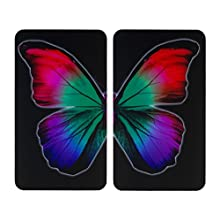 WENKO Universal cover plates Butterfly by night - set of 2, for all types of cookers, Tempered glass, Multicoloured, 52 x 30 x 1.8-4.5 cm