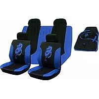 XtremeAuto® – Juego de fundas para los asientos delanteros y traseros del coche, alfombrillas y funda protectora para el volante - 15piezas - Diseño de dragón tribal de color azul