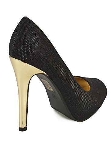 Escarpins Peep Toes Strass Noir Noir