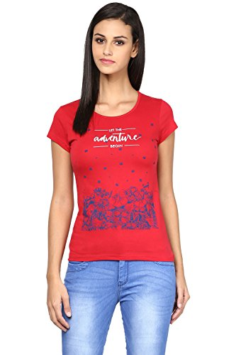 Honey by Pantaloons Women's Round Neck T-shirt _Red_M  available at amazon for Rs.239