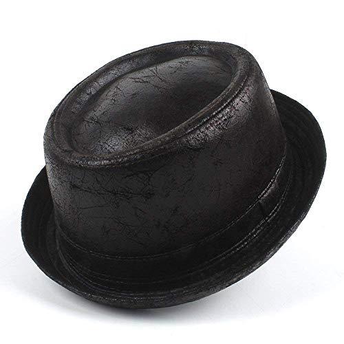 Deawecall Modischer Hut, Leder Schweinefleisch Torte Fedora Hut Männer Boater Flat Top Hut für Gentleman Bowler Gambler Top Hut (Farbe : Schwarz, Größe : 58-59cm)