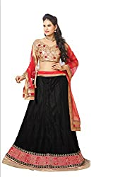 Florence Womens Net Braso Lehenga Choli (AN_1050_Black)