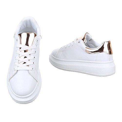 Scarpe Da Donna Ital-design, Ka620b, Sneakers Casual In Oro Bianco