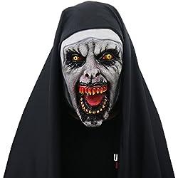 yacn Traje de Monja de Halloween para Las Mujeres, 2018 Nun máscara con la máscara de Scary Zombie Velo(Nun)
