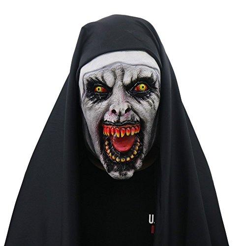 yacn Halloween Nonne Kostüm für Frauen, 2018 Nonne Maske mit Schleier Scary Zombie Maske(Scary-Nun)