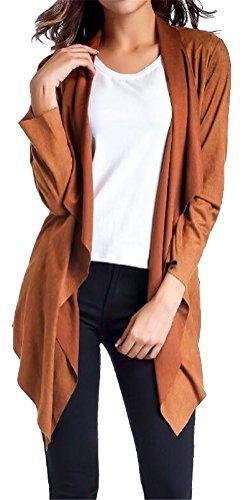 Ghope Femme Cardigan Col Revers Veste Manches Longues Blazer Gilet Jacket Tan